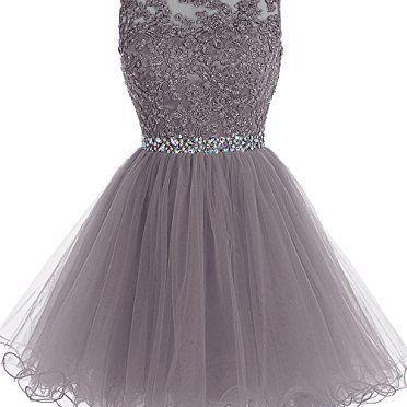 Grey Lace-up Knee Length Short Prom Dress 2017