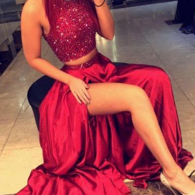 Red Beaded Open Back Two Piece Prom Dress 2017