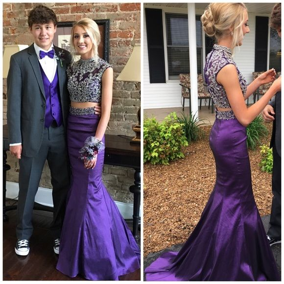 Purple Beaded Mermaid Two Piece Prom Dress 2017, Grape Color Cheap Prom Dresses