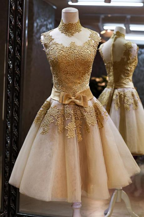 Golden Short Lace Prom Dress 2017