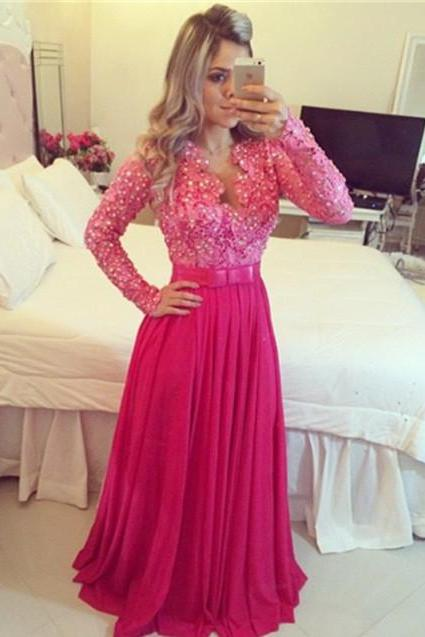 Magenta Long Lace Prom Dress With Sleeves