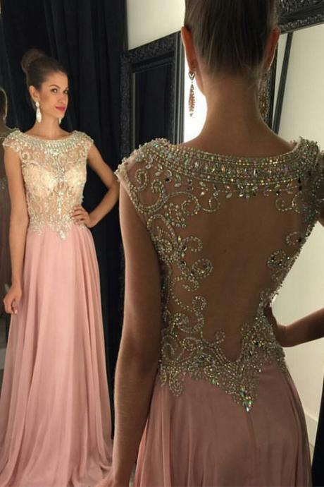 Beaded Pink Long Prom Dress 2017