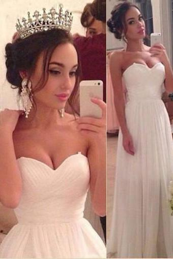 Ivory Sweetheart Simple Zipper Back Strapless Chiffon Long Prom Dress Inexpensive Bridesmaid Dress