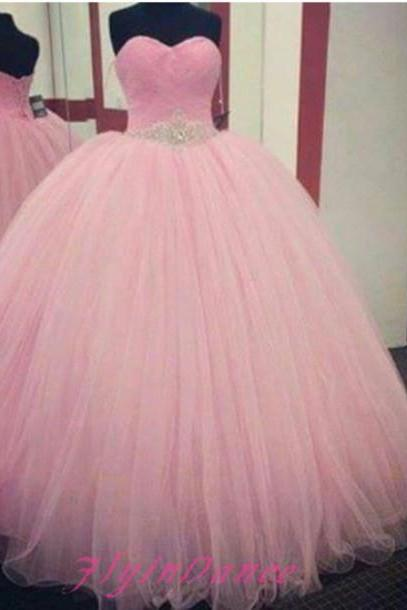 Blushing Pink Sweetheart Lace-up Back Tulle Ball Gown Long Prom Dress With Beaded Belt