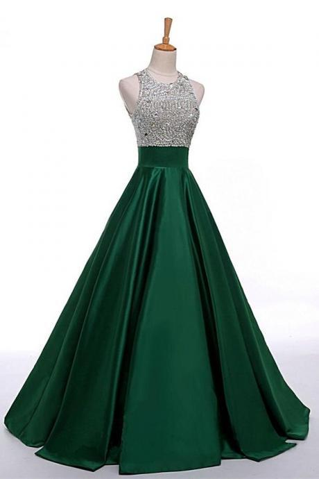 Prom Dress Long, Dark Green Open Back Beaded Long Prom Dress For School Graduation Dance