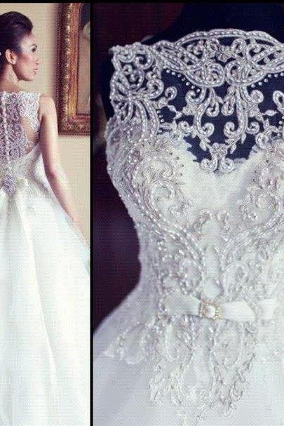 Lace Wedding Dresses, 2017 A Line Charming Button Back Multi Layers Lace Applique Wedding Dress