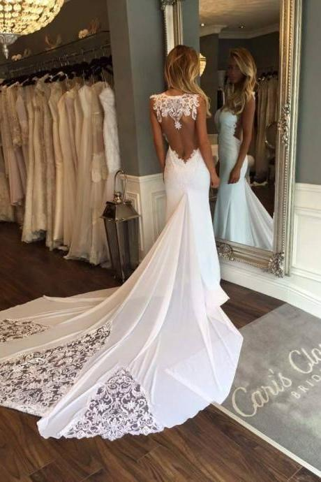 Illusion Sweetheart Lace Mermaid Wedding Dress with Long Train