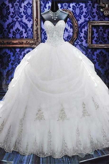Sweetheart Beaded Lace-up Ball Gown Organza Wedding Dress