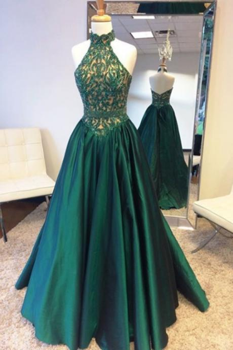 Olive Green Haltered V Back A Line Cheap Long Prom Dress 2017