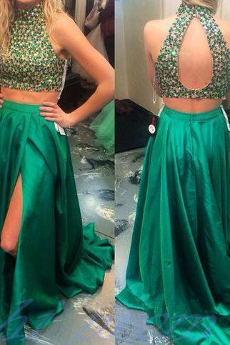 Green Open Back Beaded Two Piece Prom Dress With Slit
