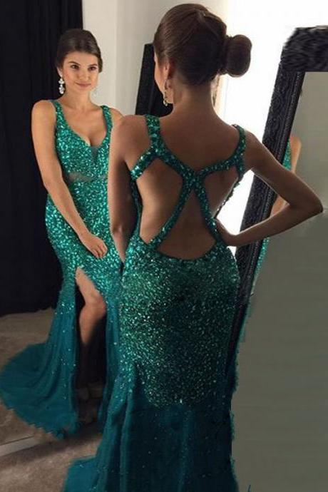 Emerald Green Open Back Sparkle Beaded Mermaid Long Prom Dress With Slit