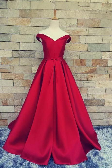 2017 Off The Shoulder Lace-up Cheap Red Prom Dress