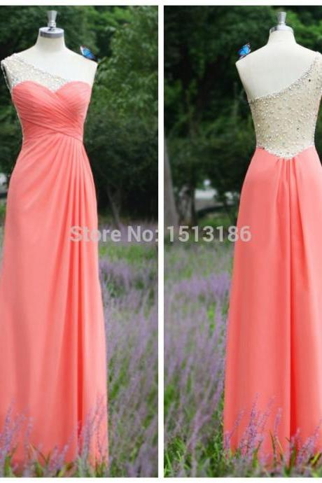 2017 Peach Beaded One Shoulder Simple Cheap Prom Dress