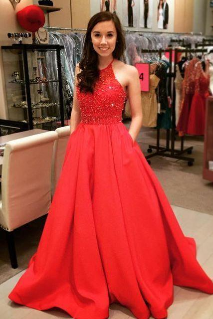 2017 A Line Low V Back Cheap Beaded Halter Prom Dress