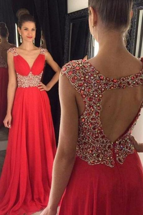 Prom Dresses, 2017 A Line Open Back Cheap Red Beaded Long Prom Dress
